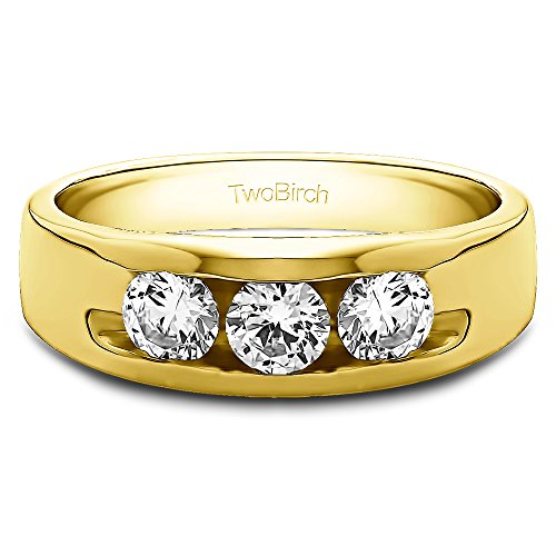 18k Yellow Gold Gent's Ring White Sapphire(0.33Ct) Size 3 To 15 in 1/4 Size Intervals