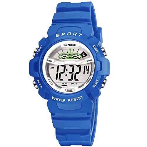 BEUU 2018 Waterproof Children'S Watch Children Boys Student Sports Led Digital Date Wristwatch (Type 2-Blue)
