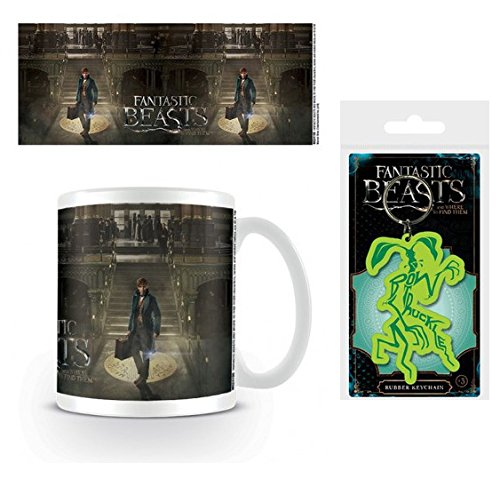 1art1 Set: Fantastic Beasts, Newt Scamander and His Magical Suitcase Photo Coffee Mug (4x3 inches) and 1 Fantastic Beasts, Keychain Keyring for Fans (2x2 inches)