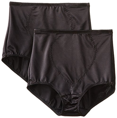 Bali Women's Shapewear Tummy Panel Brief Firm Control 2-Pack, Black, X-Large