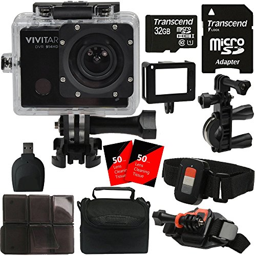 Vivitar DVR914HD 16.1MP 1440p Action Camera Like Gopro Hero with 4K Video WiFi Mounts and 32GB Memory Card - with US Warranty