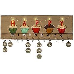 Placa de cumpleaños calendario para colgar en la pared de madera con etiquetas en blanco–familia y amigo feliz cumpleaños Letrero De Pared Por orquídea & Ivy