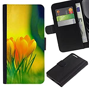 // PHONE CASE GIFT // Moda Estuche Funda de Cuero Billetera Tarjeta de crédito dinero bolsa Cubierta de proteccion Caso Apple Iphone 6 PLUS 5.5 / Yellow Flowers /