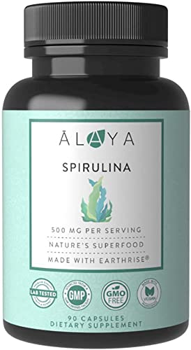 Alaya Naturals – Pure Spirulina Capsules – Made with Earthrise Spirulina, Blue Green Algae Superfood – Non-GMO Vegan – 500 mg, 90 Capsules