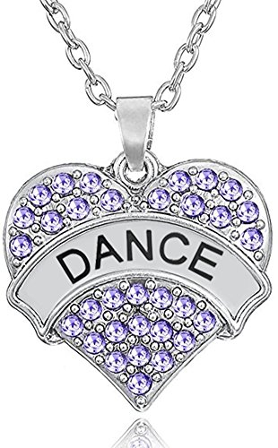 Glamour Girl Gifts Collection Silver Tone Crystal Heart Shaped Dance Pendant Charm Necklace for Girls, Teens, Women (Purple 1