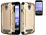 Tempered Glass+2Layer Slim Hybrid Brushed Rubber Case Cover For Coolpad Canvas 4G LTE 3636A / Splatter Phone (Gold)
