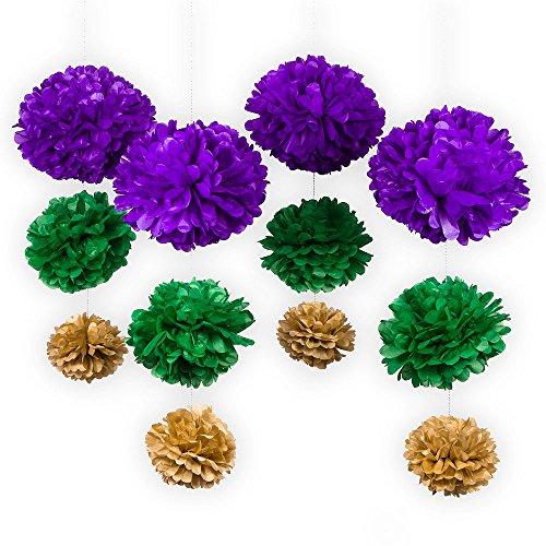 Fantado PaperLanternStore.com 12-pc Mardi Gras Purple Carnaval EZ-Fluff Tissue Paper Pom Poms Flowers Decoration Party Pack ()