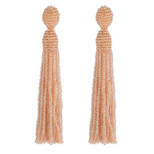 Long Beaded Dangle Earrings for Women Native American Seed Bead Tassel Yellow Fringe Girls Drop Statement Handmade -