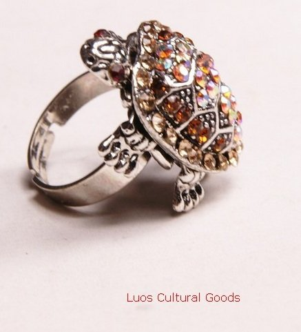 Luos Beautiful Feng Shui Turtle Silvertone Metal Ring with Gold Crystals- Sr029