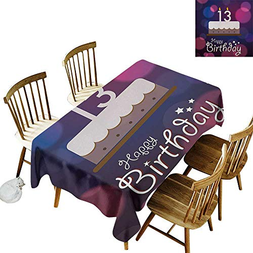 Floral Rectangular Tablecloth W54 x L90 13th Birthday Hand Drawn Style Party Cake with Number Candles on Abstract Backdrop Blue Pink White Great for Bar - Candles Danish Drop