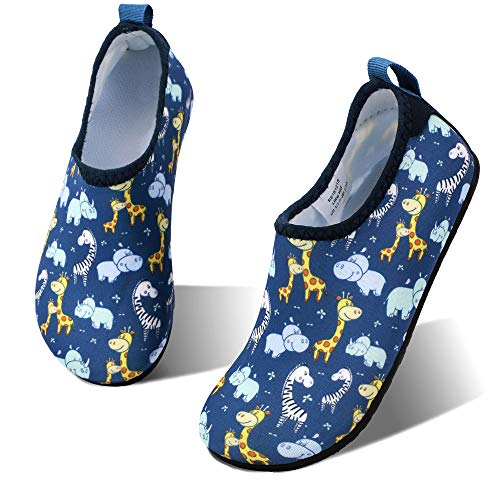 hiitave Toddler Swim Water Shoes Non-Slip Quick Dry Barefoot Beach Aqua Pool Socks for Boys & Girls Kids Blue/Animal 12-13 M US Little Kid -