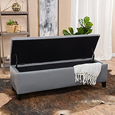 Christopher Knight Home 296845 Living Skyler Grey Leather Storage Ottoman Bench