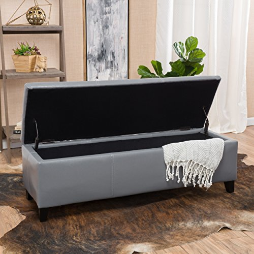 Christopher Knight Home 296845 Living Skyler Grey Leather Storage Ottoman Bench,