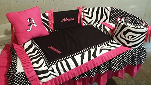 4 piece Zebra Crib Baby Bedding set, Handmade and Custom to order, Embroidered, monogrammed, personalized includes accent pillow by CozyCreations Heather Reynolds