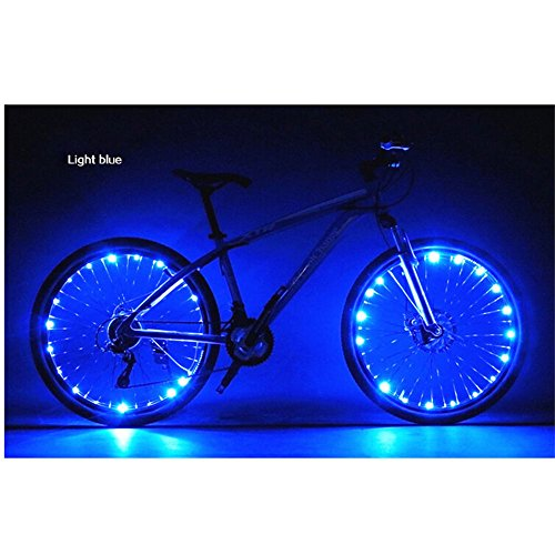 Happy Hours® Waterproof 20 LED Bike Wheel Light String Safety Flash LED Strip Lamp for Night Riding Cycling Bicycle Spoke Fun Tire Light Working with 3AA Batteries,Blue (Star Girl Halloween Trailer)
