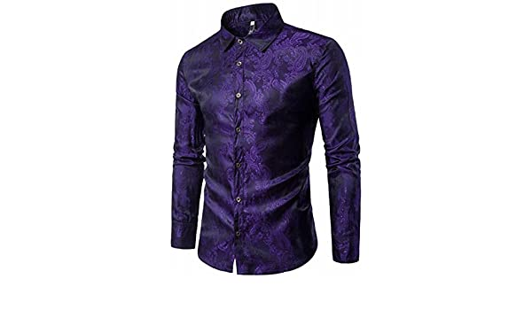 Wofupowga Mens Splice Button Down Regular-Fit Lace Sequins Long-Sleeve Shirts