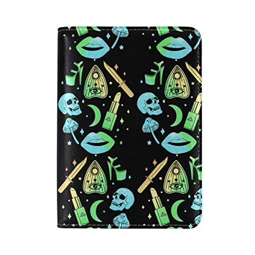 Pastel Goth Witch Creepy Halloween Passport Cover Personalized PU Leather Passport Holder Travel Gifts -