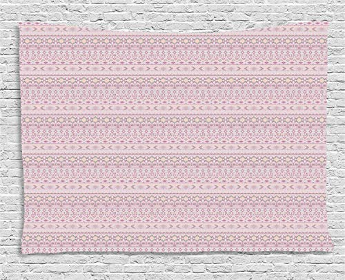 YouXianHome Folk Tapestry King, Tribal Pattern with Authentic Geometrical Shapes, Tapestry for Bedroom, 90 W x 60 L Inches, Pale Mauve Pale Peach Warm Taupe and Mauve Taupe]()
