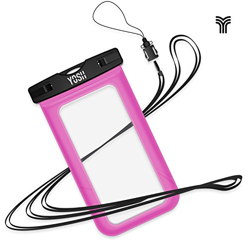 Waterproof Case YOSH Universal Snow Proof Pouch Dry Bag for Apple iPhone 6 plus, 6s plus, 5s, Samsung Galaxy S7 Edge, S6 Edge, S5, S4, Note 4 for Cellphone up to 6 inches (Pink) (Note 4 Edge Waterproof Case compare prices)