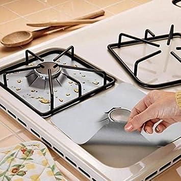 Lot de 4 FDA Square Gaz Cuisinière brûleur Couvre Réutilisables Anti Top Protecteur Liners