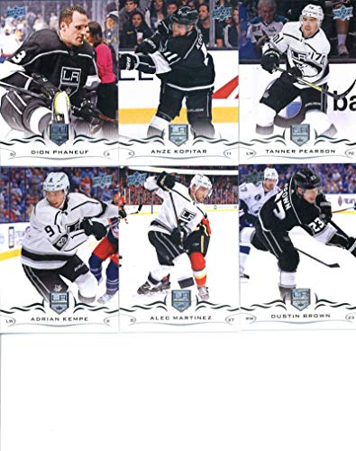2018-19 Upper Deck Series 1 and 2 Hockey Complete Los Angeles Kings Team Set of 12 Cards: Dustin Brown(#83), Alec Martinez(#84), Adrian Kempe(#85), Tanner Pearson(#86), Anze Kopitar(#87), Dion Phaneuf(#88), Jeff Carter(#334), Ilya Kovalchuk(#335), Jonathan Quick(#336), Drew Doughty(#337), Jake Muzzin(#338), Tyler Toffoli(#339)