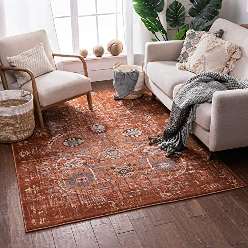 "Well Woven Elle Copper Persian Vintage Shiraz 8x11 7'10'' x 10'6"" Area Rug Red Distressed Rust Modern Oriental Carpet"