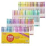 Arts & Crafts : 160 Pack Glitter Gel Pens Set, Shuttle Art 220% Ink Glitter Gel Pen 80 Colored Gel Pens plus 80 Refills for Adult Coloring Books Craft Doodling
