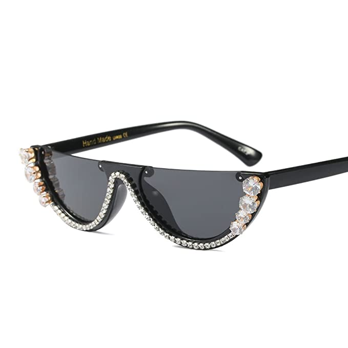 e2d67f9be058 Kachawoo half frame cat eye sunglasses rhinestone luxury sun glasses woman  fashion summer (black)