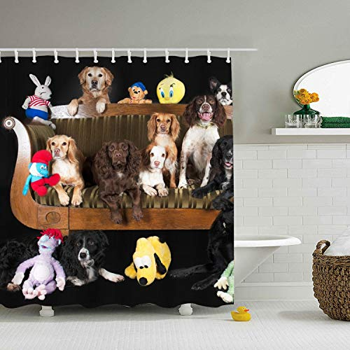 LOVEUIO Animal Dog Stuffed Spaniel Golden Retriever Lounge Border Collie Polyester Fabric Shower Curtain,Lodge Shower Curtains for Bathroom, Print Decorative Waterproof Bath Curtains,72