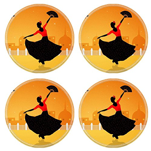 [Liili Round Coasters Image ID 21730597 Illustration of flamenco dancer] (Female Flamenco Dancer Costumes)