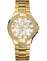 GUESS Womens G13537L Status Crystal Accent Multi-Function Gold-Tone Sport Watch