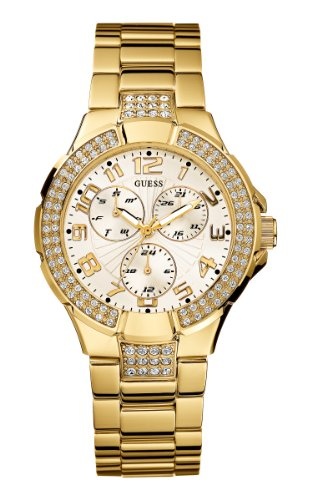 GUESS Women's G13537L Status Crystal Accent Multi-Function Gold-Tone Sport - Guess Crystal Accent Watch