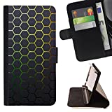 Generic / Flip Wallet Diary PU Leather Case Cover With Card Slot for LG G5 - Minimalist Neon Honeycomb Mesh Pattern