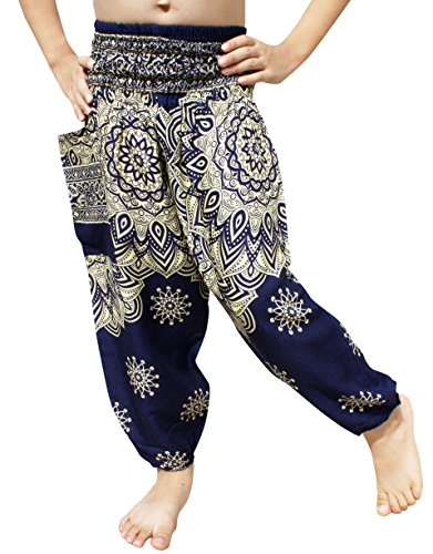 Full Funk Rayon Smock Waist Child Lounging Pants in Mixed Artworks, 0-2 Years, Lotus Blue