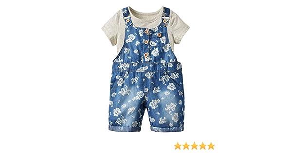 Zetiy Little Girls 2 Piece Denim Floral Short Romper Overalls Tee Set 6T, Blue