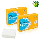 2 Pack Total 60 Loads EJ Laundry Detergent Sheets, Portable Stain Remover, Fresh Scent Fabric Softener, No Spill Like Liquids