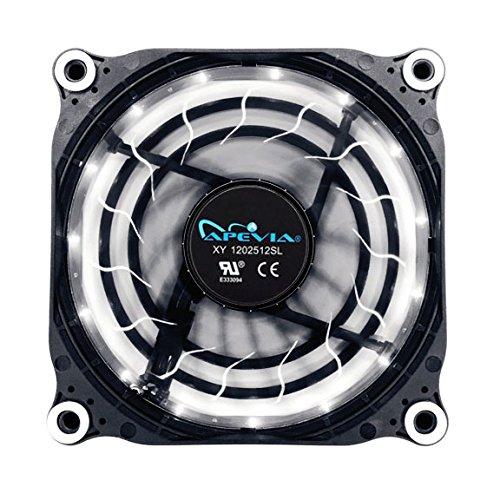 APEVIA 12L-DWH 120mm Silent Black Case Fan with 15 x Blue LEDs & 8 x Anti-Vibration Rubber Pads - Best Value