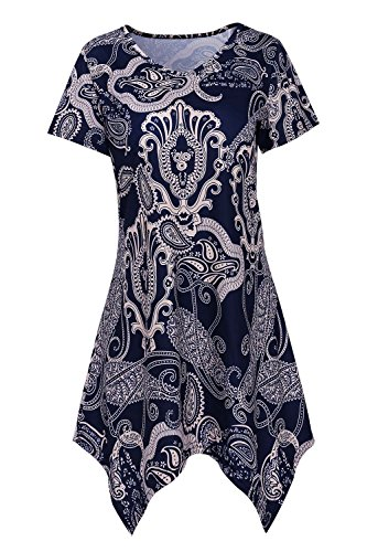 DREAGAL Womens Vintage Graphic Print Paisley Asymmetric Hem Lightweight Tunic Top (Paisley Vintage Tunic)
