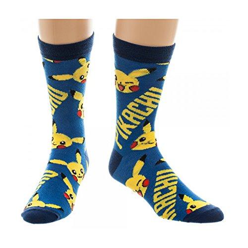 Oficial-Pokemon-Pikachu-azul-y-amarillo-todo-impresin-tripulacin-calcetines-nica-talla