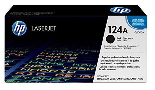 Hewlett Packard Color Laserjet 1600 - HP 124A (Q6000A) Black Original Toner Cartridge for HP Color LaserJet 2600n 1600 2605 1015 1017