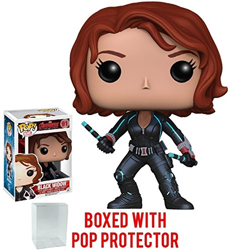 Funko Pop! Marvel: Avengers 2 Age of Ultron - Black Widow Vinyl Figure (Bundled with Pop Box Protector Case)