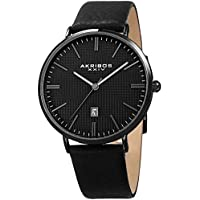 Akribos XXIV Men's Slim Classic Watch AK935 Series - Pattern Etched Dial with a Comfortable Supple Genuine Leather Strap (Black/Gray)