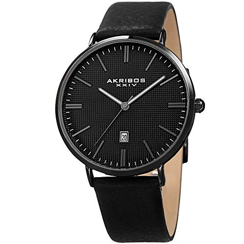 Akribos XXIV Men's Slim Classic Watch AK935 Series - Pattern Etched Dial with a Comfortable Supple Genuine Leather Strap (Black/Gray) ()