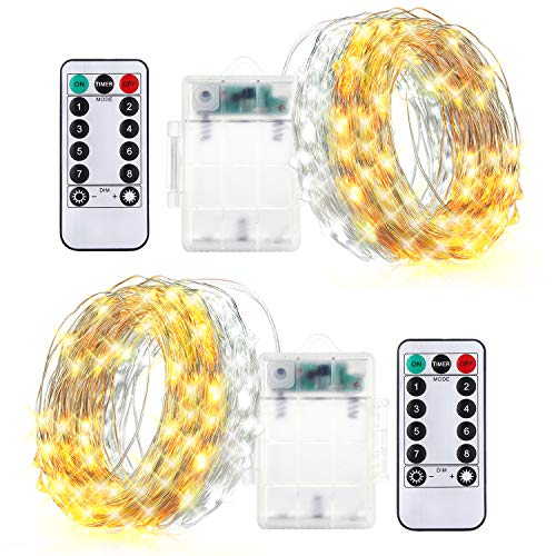 innotree 2 Pack Fairy Lights Warm White & Cool White Switchable, Battery Operated with Remote Control Timer Waterproof 16.4 Ft Copper Wire 50 LED Twinkle String Lights for Bedroom Indoor (Led String Timer Warm Operated Lights Battery White)