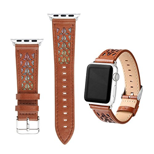 For Apple Watch Band,Handmade Hollow Carved Genuine Leather Replacement Women Men iWatch Strap For Apple Watch All Versions (Brown, 38 (Stainless Steel Dynasty Watch)