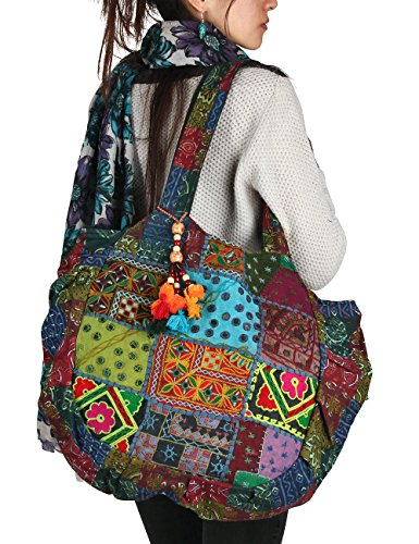 Tribe Azure Floral Embroidered Blue Shoulder Tote Bag Boho Gypsy Hippie Cotton Lightweight Roomy Spacious Cute Colorful School Laptop Books Large Durable Unique (Handmade Hippie Patchwork)