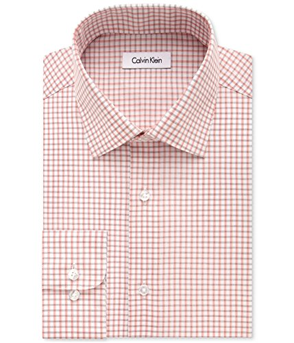 Calvin Klein Men's Regular Fit Non Iron Grid Check Shirt, Sienna, 16.5