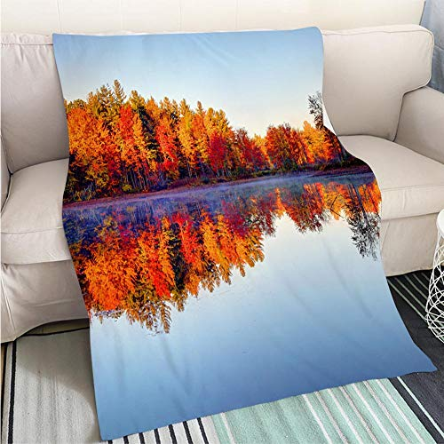 BEICICI Art Design Photos Cool Quilt Peak Fall Foliage Reflecting on a Pond in New Hampshire Art Blanket as Bedspread Gold White Bed or Couch