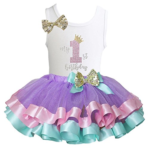 Kirei Sui Satin Trimmed Tutu Birthday Tank Top XS My 1st Birthday
