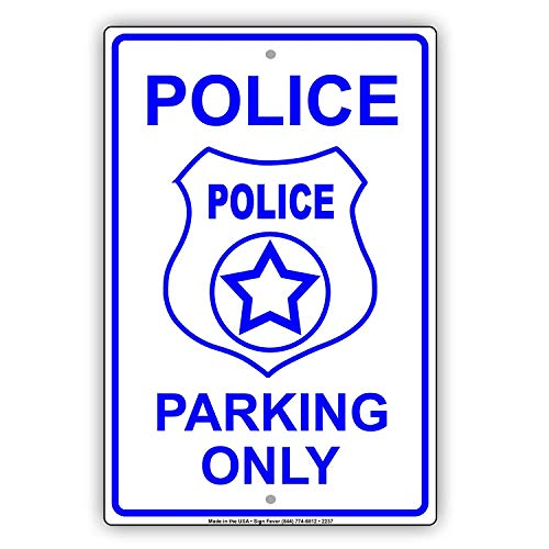 Aubrey Hammond Safety Warning Signs.Police Parking Only Blue Letters with Graphic Reserved Spot Alert Caution Warning Notice tin Metal Tin Sign Plate.12 inches x 8 inches.